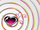 Fond de spirale avec coeur décoré — Vecteur