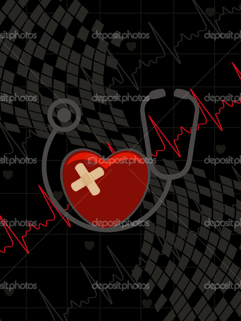 Abstract heartbeat background with stethoscope, red damage heart  Stock Vector #5026868