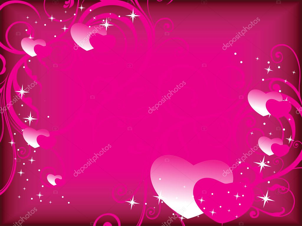 Magenta curve floral, twinkle star background with romantic hearts — Stock Vector #5027389