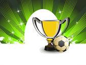 Fondo con fútbol y trofeo — Vector de stock