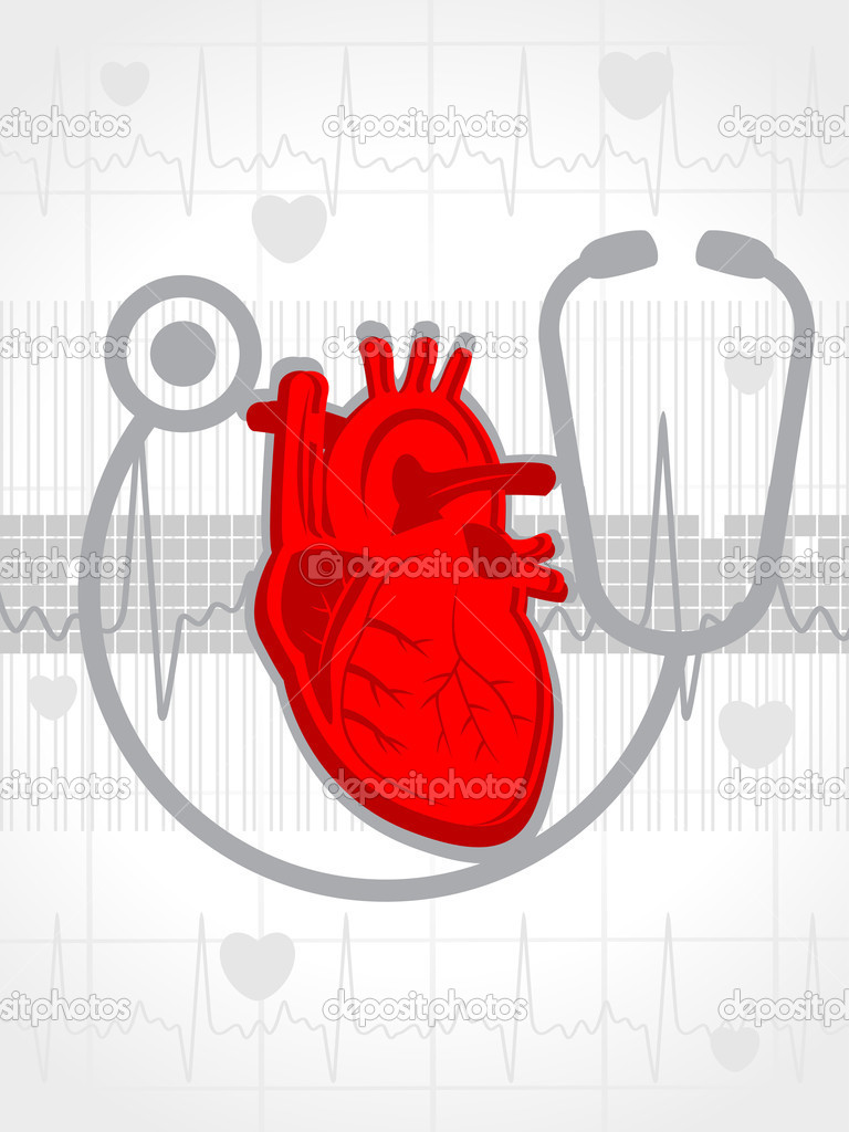 Abstract heartbeat background with stethoscope, human heart  Stock Vector #5063759