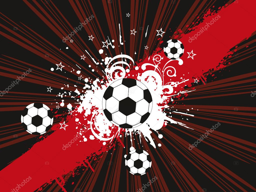 Abstract grungy rays background with footballs, vector illustration  Stock Vector #5079047