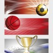 Background with set of three sports banner — Stock Vector