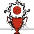 Royalty-Free Stock Vector Image: Grungy background with trophy, basketball