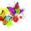 Royalty-Free Stock Векторное изображение: Colorful grunge background with beautiful butterflies