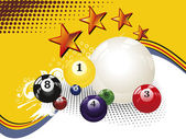 Texture background with colorful billiard balls — Stock Vector