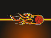 Background with fiery basketball — Stock Vector