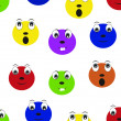 Vector colorful comic face pattern wallpaper - Vettoriali Stock