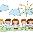 Vector happy kids - Stock Vector