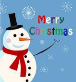 Vektor snögubbe kort till jul — Stockvektor