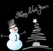 Vector snowman card for christmas — Stock Vector