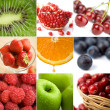 Colorful fruit collage of nine photos - Foto Stock