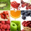 Colorful fruit collage of nine photos - Stockfoto
