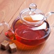 Stock Photo: Glass teapot with black tea