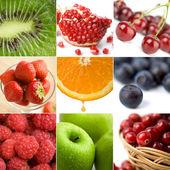 Kleurrijke vruchten collage van negen foto 's — Stockfoto