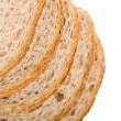 Wholemeal bread slices isolated — Stock Photo