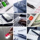 Obchodní koláž z devíti fotografií — Stock fotografie