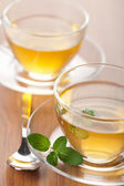 Two cups of green tea with mint — Stock Photo