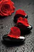 Spa stones and rose petals over black — Stock Photo