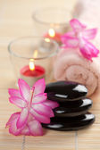 Spa stones and pink flowers over bamboo mat — Stock Photo