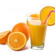 Glass of orange juice and oranges isolated — Stock Photo