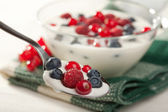 Spoon with yogurt and wild berries — Stock Photo