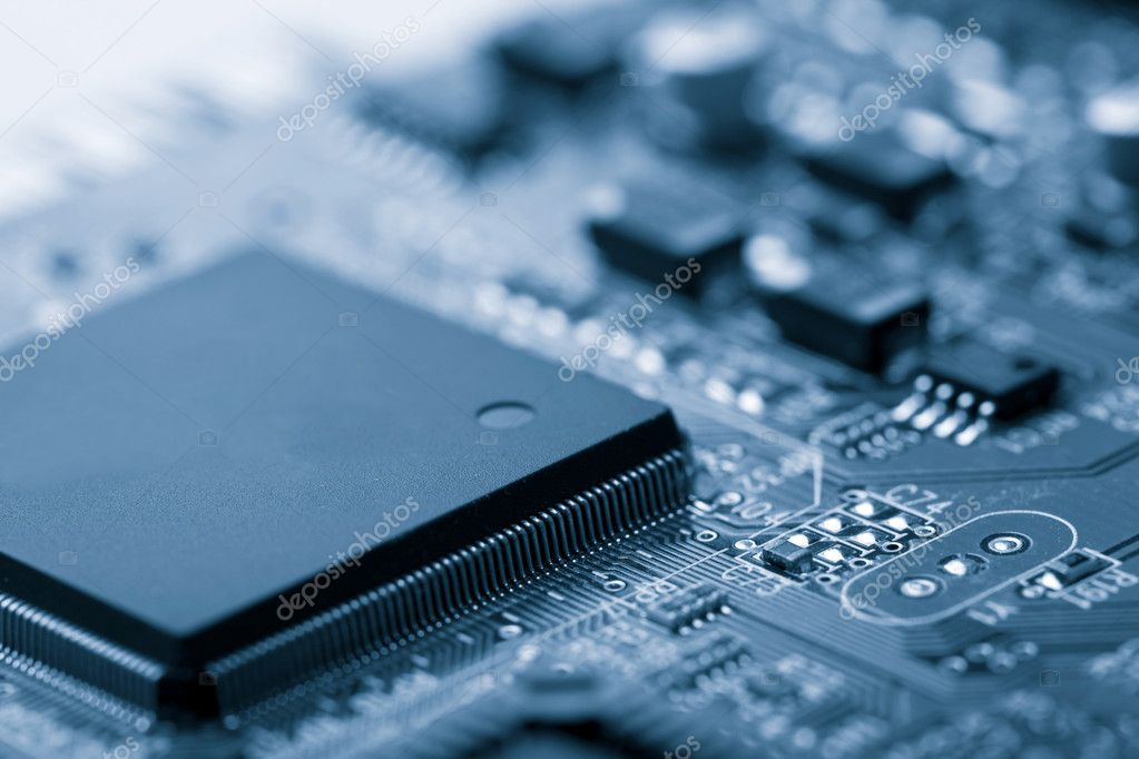 Electronic board toned blue — Stock Photo #3591879