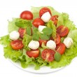 Salad with tomatoes and mozzarella isolated — Stock Photo