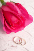 Gold wedding rings and pink rose — Stock Photo