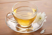 Cup of green tea and white flower — Stock Photo