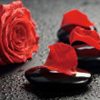 Spstones and rose over black — Stockfoto #3678008