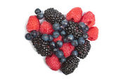 Heart of fresh berries isolated — Stock Photo
