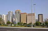 Street of skyscrapers in Abu-Dhabi — Stock Photo