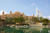 Burj Al Arab viewed from the Madinat Jumeirah — Stock Photo