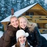 Beautiful women in winter clothing outdoors — Stock Photo