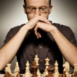 Thoughtful chess master — Stockfoto