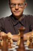 Thoughtful chess master — Stock Photo