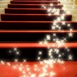 Stairs covered with red carpet - 