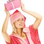 Beautiful mrs. Santa with a gift box — Stock Photo #4783832