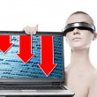 Stock Photo: Beautiful cyber womwith laptop computer. Red graphics going