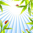 Stock Photo: Ladybugs sitting on bamboo leaves