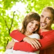 Young couple in love outdoors. Close-up portrait — Stock Photo #4784079