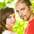 Young couple in love outdoors. Close-up portrait — Stock Photo #4784080