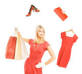 Beautiful young woman ready for shopping — Stock Photo