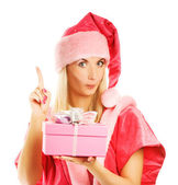 Mrs. Santa with a gift box has an idea — Stock Photo
