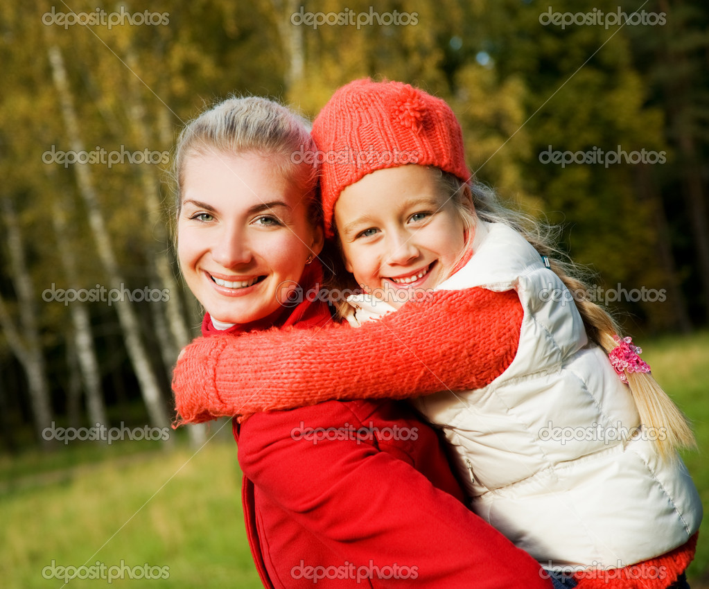 Mother and daughter outdoors  Foto Stock #4783996