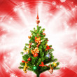 Christmas-tree over abstract red background - Stock Photo
