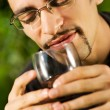 Handsome young man drinking red wine - Stockfoto