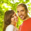 Young couple in love outdoors. Close-up portrait — Stock Photo #4791046