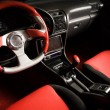 Tuned sport car. Luxury red velvet interior — Stock Photo